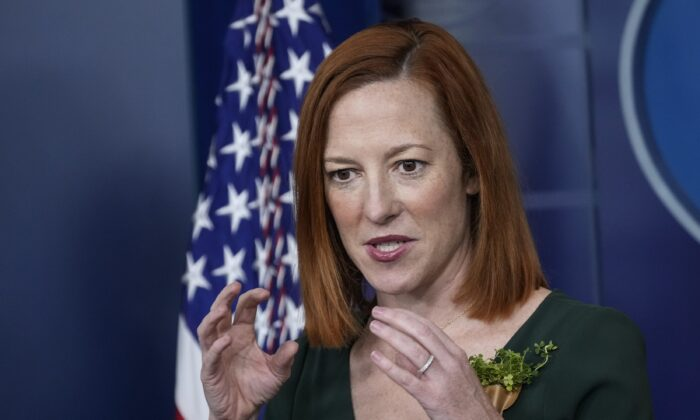 White House press secretary Jen Psaki speaks during a briefing at the White House in Washington on March 17, 2021. (Drew Angerer/Getty Images)