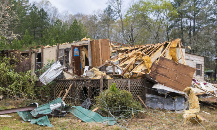 Damage to Bobbi Harris' property on Old Greensboro Road is seen, in Moundville, Ala., on March 17, 2021, after severe weather came through the area. (Vasha Hunt/AP Photo)