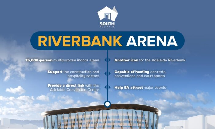 The proposed Riverbank Arena will be built in the CBD of Adelaide. (Facebook: Steven Marshall)