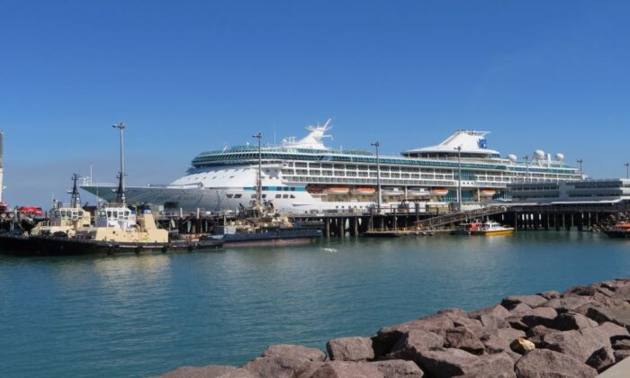 The Royal Caribbean ship Legend of the Seas docked at Port of Darwin, Northern Territory, obtained Friday, July 31, 2015, Sydney. (AAP Image/ Gregg Tripp)