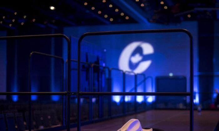 A cowboy hat is left inside an empty ballroom at the Conservative national convention in Halifax on Aug. 25, 2018. Card-carrying federal Conservatives are heading into day two of a virtual convention aimed at getting the party ready for the next election. (Darren Calabrese/The Canadian Press)