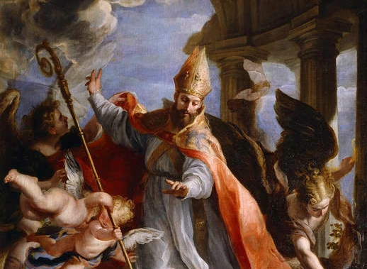 """The influential Christian theologian believed that some scripture was meant to be interpreted figuratively. A detail from """"The Triumph of Saint Augustine,"""" 1664, by Claudio Coello. Prado Museum. (Public Domain)"""