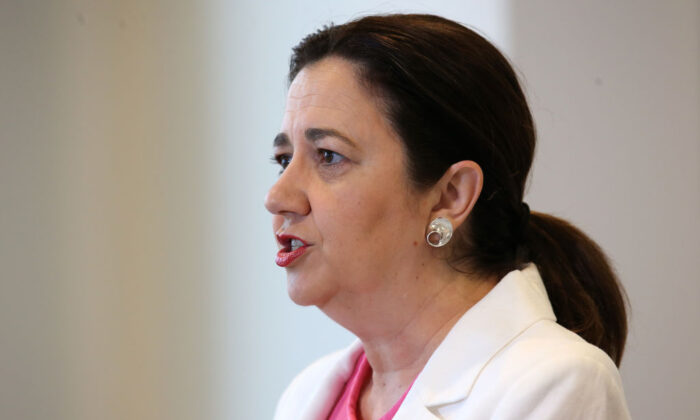 Queensland Premier Annastacia Palaszczuk speaks at a press conference on March 15, 2021 in Brisbane, Australia. (Jono Searle/Getty Images)