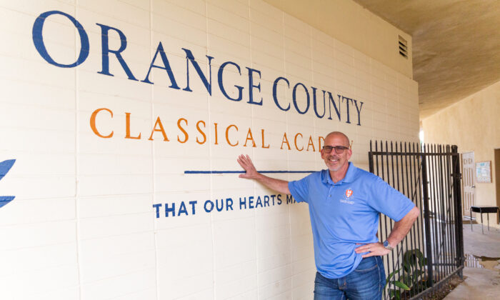 Charter school co-founder Dr. Jeff Barke stands in front of the Orange County Classical Academy in Orange, Calif., on March 10, 2021. (John Fredricks/The Epoch Times)