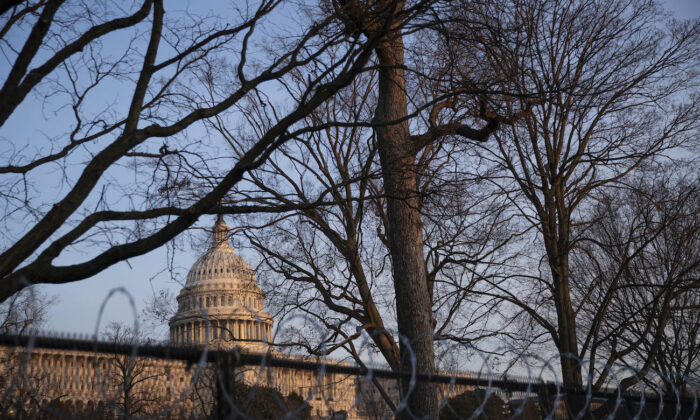 The U.S. Capitol building exterior is seen at sunset  in Washington, on March 8, 2021. (Sarah Silbiger/Getty Images)
