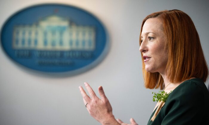 White House Press Secretary Jen Psaki speaks during the daily press briefing at the White House in Washington, D.C., on March 17, 2021. (JIM WATSON/AFP via Getty Images)