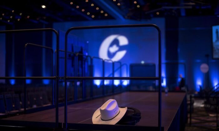 A cowboy hat is left inside an empty ballroom at the Conservative national convention in Halifax on Aug. 25, 2018. (Darren Calabrese/The Canadian Press)