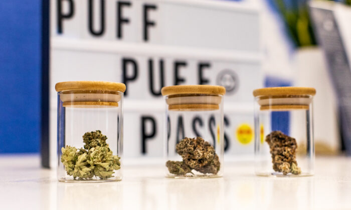Vials of marijuana for sale at Catalyst Cannabis in Santa Ana, Calif., on Feb. 18, 2021. (John Fredricks/The Epoch Times)