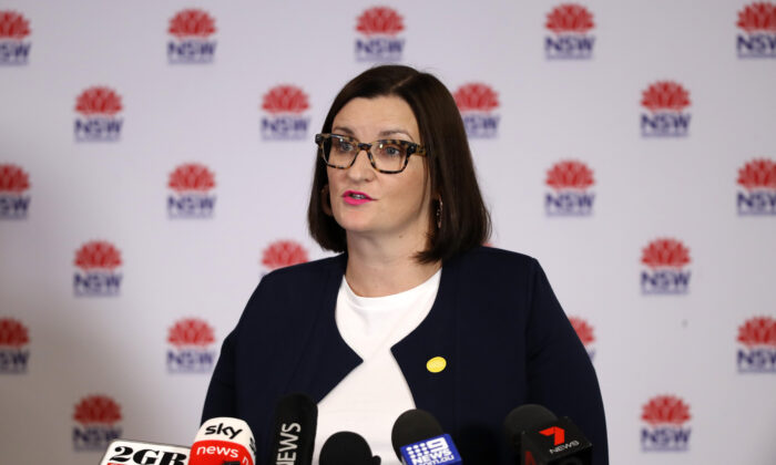 Minister for Education and Early Childhood Learning Sarah Mitchell talks to the media at a press conference in Sydney, Australia on May 11, 2020.(Mark Kolbe/Getty Images)