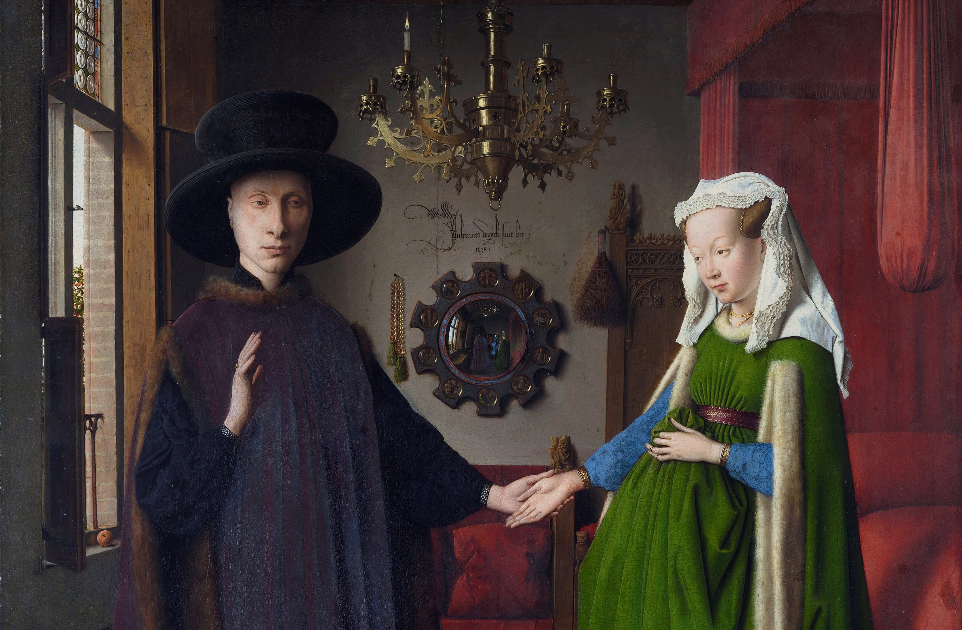 "A detail from ""The Arnolfini Portrait,"" 1434, by Jan van Eyck. Oil on oak panel of 3 vertical boards; 32.4 inches by 23.6 inches. National Gallery, London. (Public Domain)"