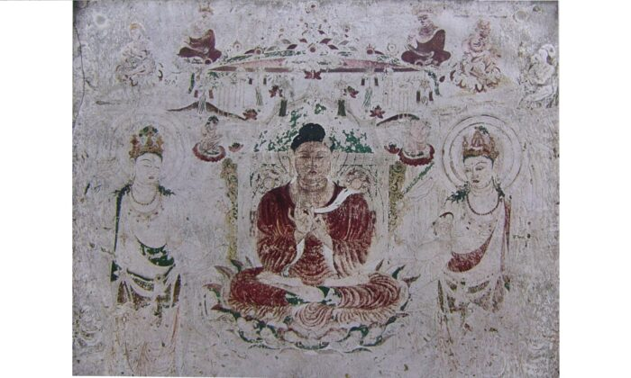 The Golden Hall (Kondo) of Horyuji Temple was once adorned with Buddhist murals similar in style to those of the Ajanta caves in India and Dunhuang caves in China. In 1949, a fire damaged a substantial number of the Horyuji murals. In this photograph, taken before the fire, a seventh-century mural shows Buddha Amitabha's paradise. (Public Domain)