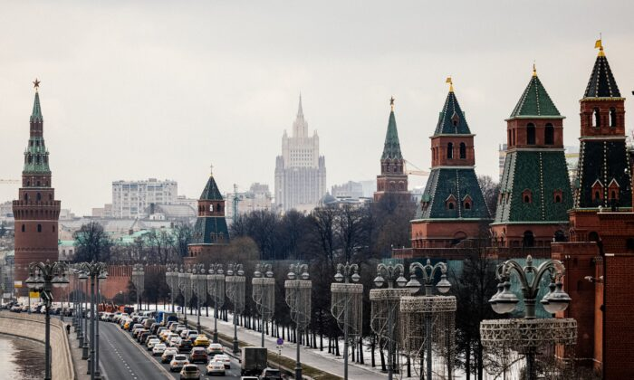 The Kremlin towers in front of the Russian Foreign Ministry headquarters on March 18, 2021. (Dimitar Dilkoff/AFP via Getty Images)