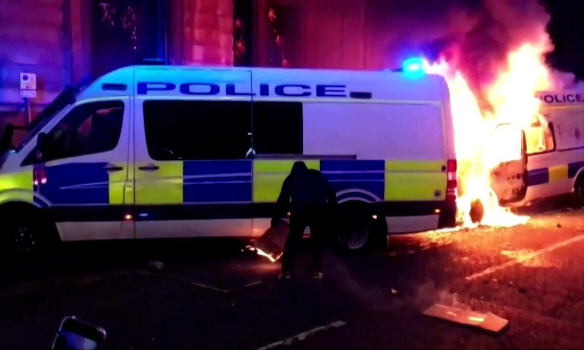 Bristol riot police vehicle fire