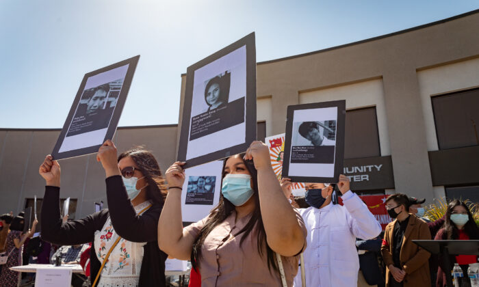 Protesters demonstrate against Burma's military coup at a rally in Stanton, Calif., on March 20, 2021. (John Fredricks/The Epoch Times)