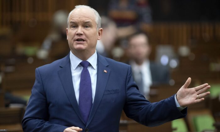 Conservative Party Leader Erin O'Toole rises during question period in the House of Commons on March 10, 2021. (The Canadian Press/Adrian Wyld)