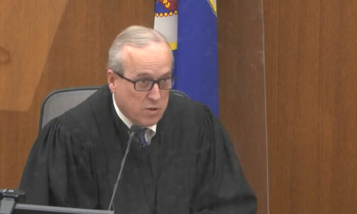 Hennepin County Judge Peter Cahill presides over jury selection at the Hennepin County Courthouse in Minneapolis, Minn., on March 22, 2021. (Court TV via AP, Pool)