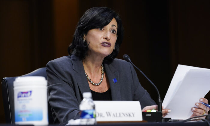 Dr. Rochelle Walensky, director of the Centers for Disease Control and Prevention, testifies during a Senate hearing on the federal COVID-19 response in Washington, on March 18, 2021. (Susan Walsh/Pool/Getty Images)