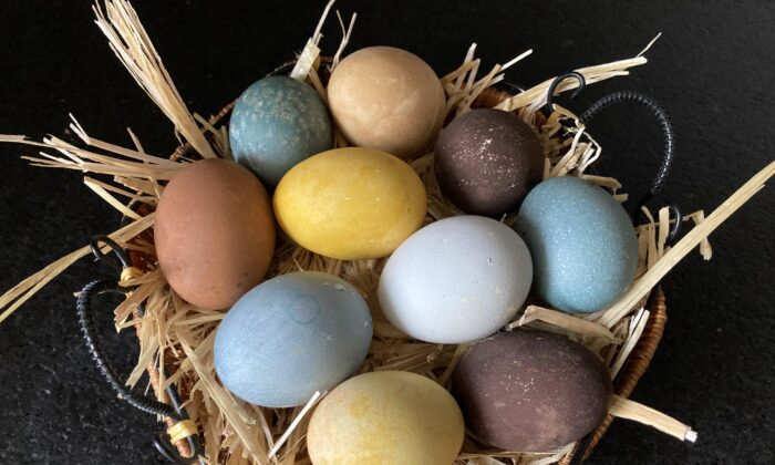These eggs get their color from natural ingredients: black tea, turmeric, and pea flowers. (Ari LeVaux)