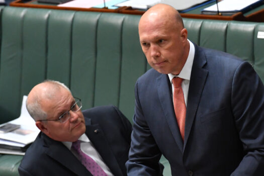 Prime Minister Scott Morrison (L) and Minister for Home Affairs Peter Dutton