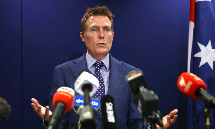 Australian Attorney-General Christian Porter speaks during a media conference in Perth, Australia, on March 3, 2021. (Paul Kane/Getty Images)