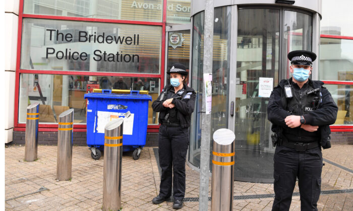 Police outside of Bridewell Police station in Bristol, England, on March 22, 2021. (Finnbarr Webster/Getty Images)