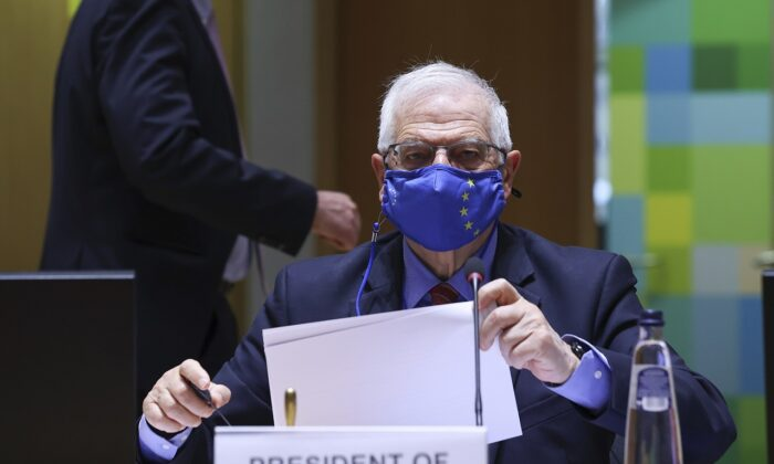 European Union foreign policy chief Josep Borrell arrives for a European Foreign Affairs Ministers meeting at the European Council headquarters in Brussels on March 22, 2021. (Aris Oikonomou/ AP)