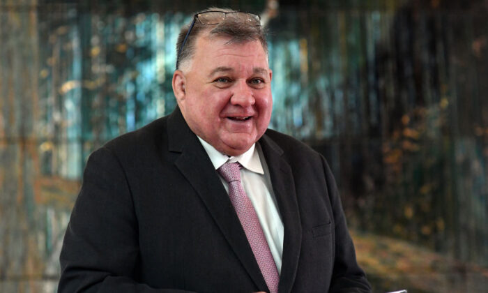 Federal MP Craig Kelly prior to addressing the media over his concerns with the AstraZeneca vaccine and blood clotting during a press conference in the Mural Hall at Parliament House in Canberra, Australia on Mar. 16, 2021. (Sam Mooy/Getty Images)