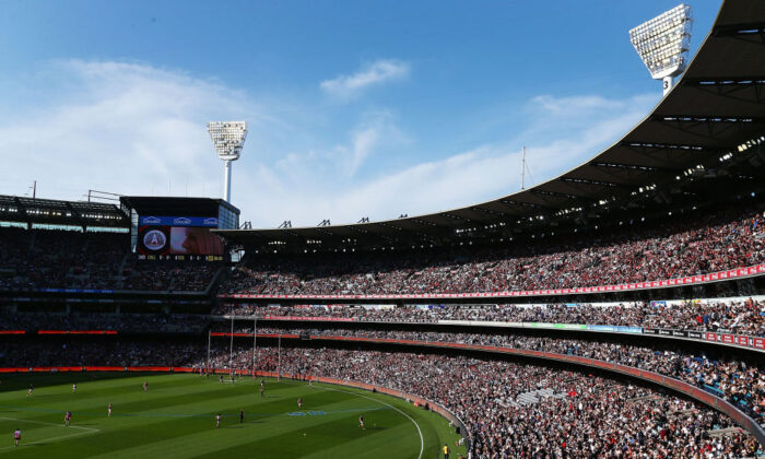 The large crowd is seen during the round five AFL match between the Collingwood Magpies and the Essendon Bombvers at Melbourne Cricket Ground on April 25, 2018 in Melbourne, Australia.  (Michael Dodge/Getty Images)