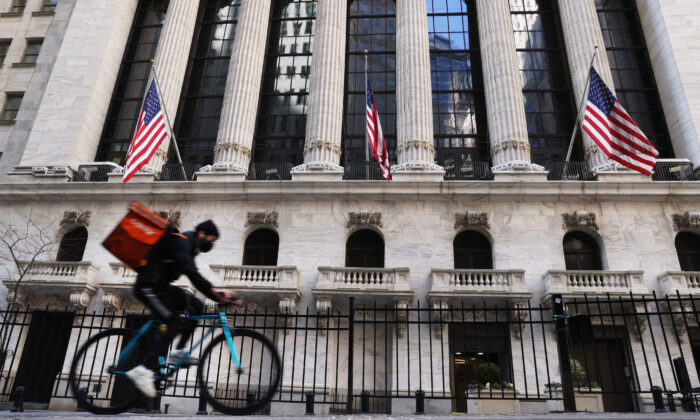 The New York Stock Exchange (NYSE) in lower Manhattan on March 9, 2021, in New York City. (Spencer Platt/Getty Images)