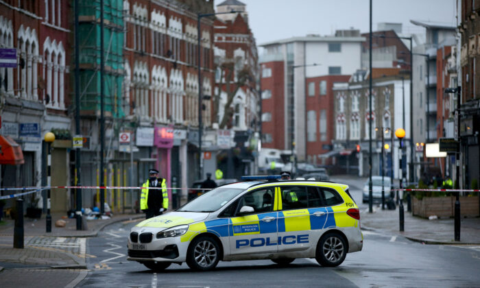 A Metropolitan Police car is seen in London, England, on Feb 7, 2021. (Hollie Adams/Getty Images)