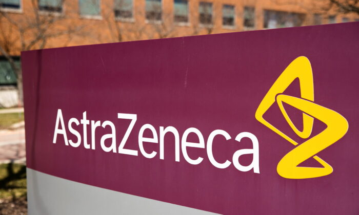 The logo for AstraZeneca is seen outside its North America headquarters in Wilmington, Del., on March 22, 2021. (Rachel Wisniewski/Reuters)