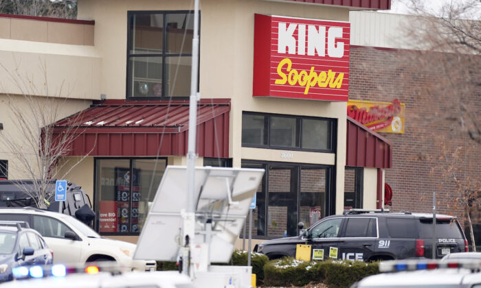 Police outside a King Soopers grocery store where a shooting took place in Boulder, Colo., on March 22, 2021. (David Zalubowski/AP Photo)