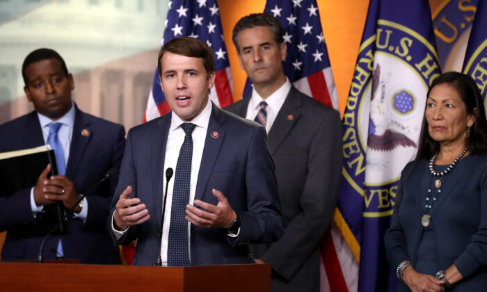 Rep. Chris Pappas (D-N.H.), second from left, speaks during a press conference in Washington on Sept. 27, 2019. (Chip Somodevilla/Getty Images)