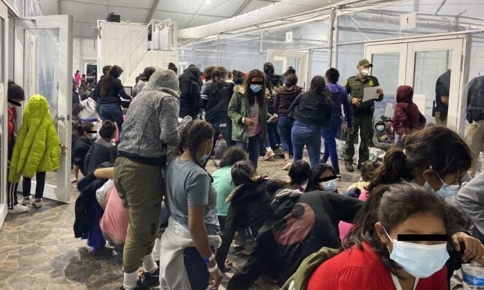 Unaccompanied minors inside an overflow facility in Donna, Texas, in a file photo. (Courtesy of Rep. Henry Cuellar's office)