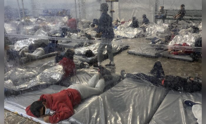 An overflow Border Patrol immigration holding facility in Donna, Texas, in a file photo. (Courtesy of Rep. Henry Cuellar's office)