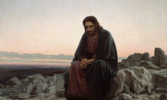 """A detail from """"Christ in the Wilderness"""" (Christ in the Desert),"""" 1872, by Ivan Kramskoi. Oil on Canvas, 72 inches by 84 inches. Tretyakov Gallery, Moscow, Russia. (Public Domain)"""