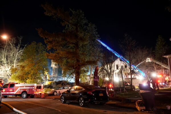 Firefighters continue working a fire