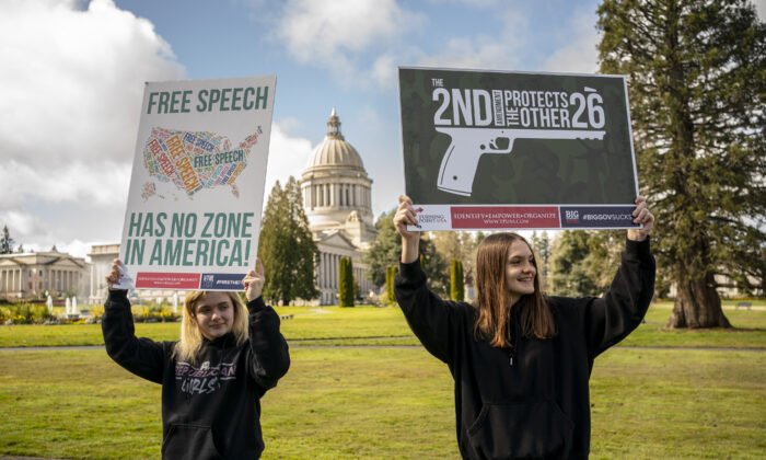 Demonstrators gather for a Second Amendment rally at the Washington State Capitol in Olympia, Washington, on March 20, 2021. (David Ryder/Getty Images)