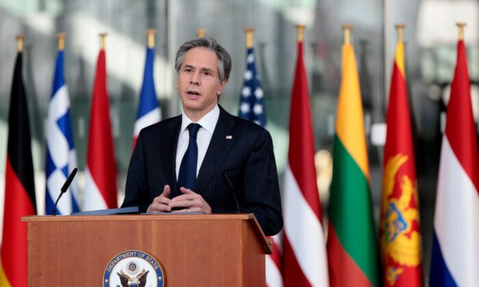 U.S. Secretary of State Antony Blinken speaks after a meeting of NATO foreign ministers at NATO headquarters in Brussels, Belgium, on March 24, 2021. (Virginia Mayo/Pool AP/AFP via Getty Images)