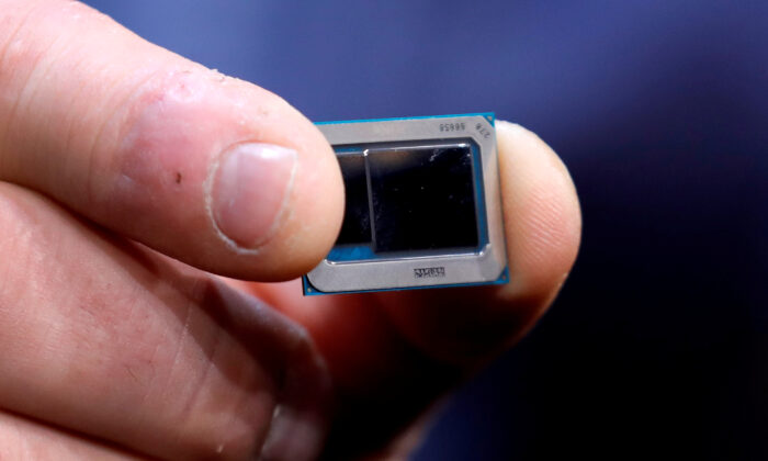 An Intel Tiger Lake chip is displayed at an Intel news conference during the 2020 CES in Las Vegas, Nev., on Jan. 6, 2020. (Steve Marcus/Reuters)
