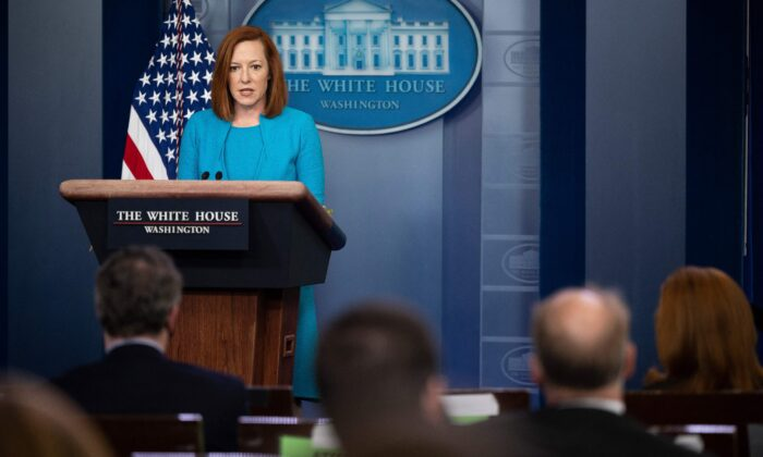 White House Press Secretary Jen Psaki speaks during the daily press briefing at the White House in Washington, on March 22, 2021. (Jim Watson/AFP via Getty Images)