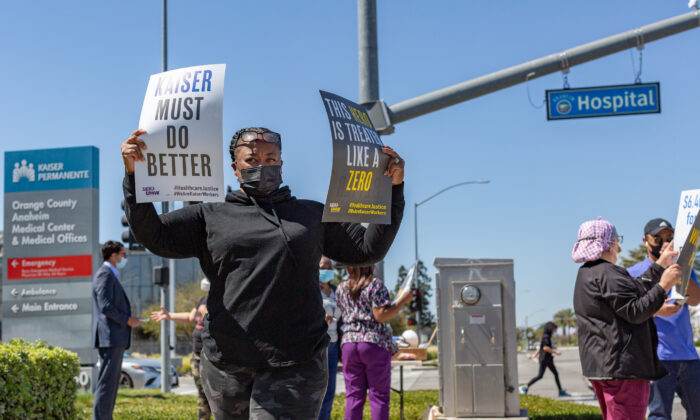 Kaiser Permanente healthcare workers protest in Anaheim, Calif., on March 24, 2021. (John Fredricks/The Epoch Times)