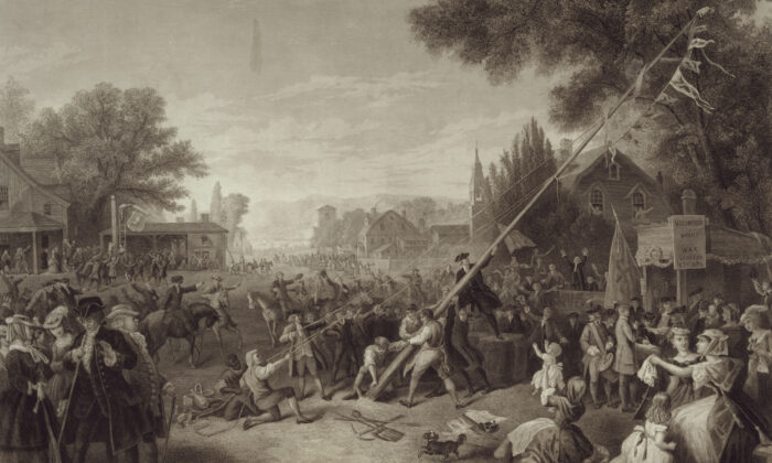 """""""Raising the Liberty Pole."""" Painted by F.A. Chapman; engraved by John C. McRae, N.Y. (Library of Congress)"""