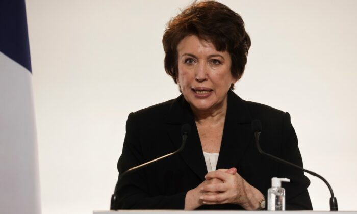 French Culture Minister Roselyne Bachelot speaks during a press conference on easing of COVID-19 restrictions, in Paris, France, on Nov. 26, 2020. (Ludovic Marin/Pool via AP/File)
