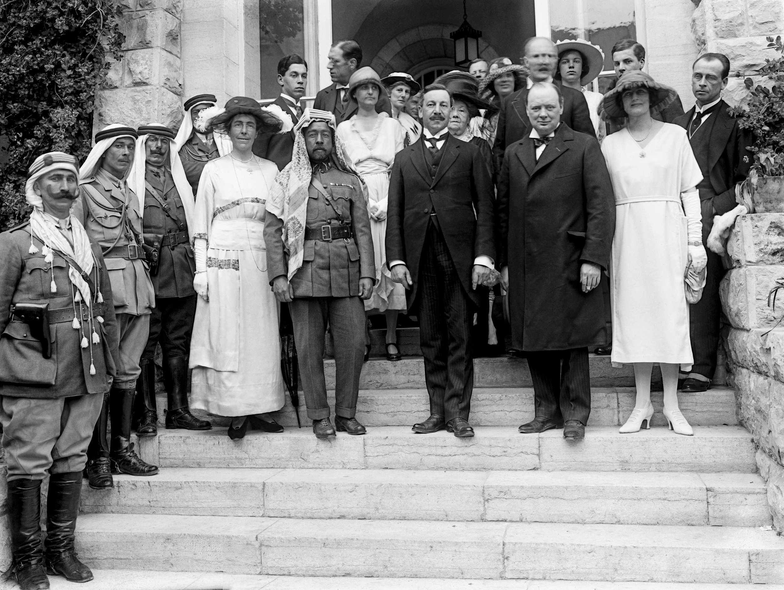 Winston Churchill at Government House reception on March 28, 1921, in Jerusalem with Emir Abdullah of Transjordan. (Public domain)