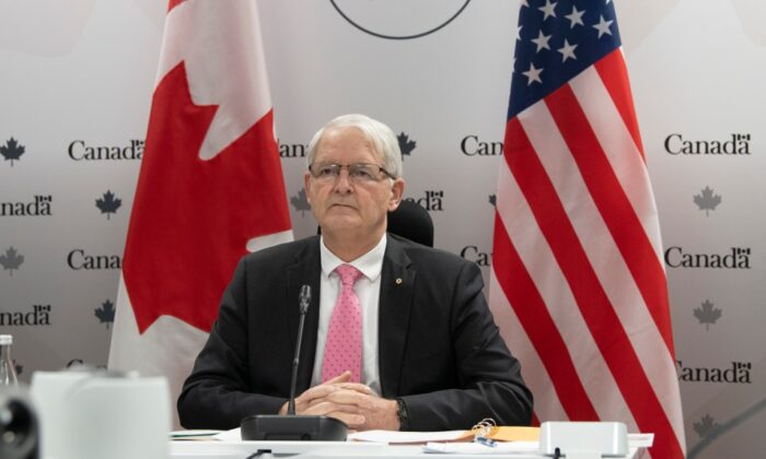 Foreign Affairs Minister Marc Garneau waits for a virtual meeting to begin with US Secretary of State Antony Blinken in Ottawa, on February 26, 2021. (Adrian Wyld/The Canadian Press)