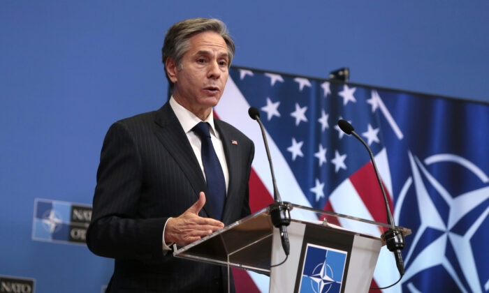U.S. Secretary of State Antony Blinken speaks during a media conference after a meeting of NATO foreign ministers at NATO headquarters in Brussels on March 24, 2021. (Virginia Mayo/Pool/AP Photo)