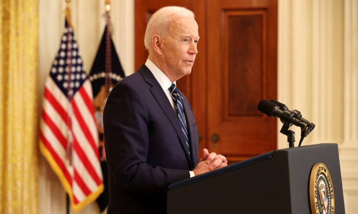President Joe Biden answers questions during the first news conference of his presidency in the East Room of the White House in Washington on March 25, 2021. (Chip Somodevilla/Getty Images)