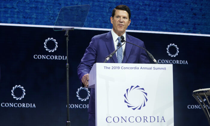 Keith Krach, former U.S. undersecretary for economic growth, energy, and the environment, speaks during the 2019 Concordia Annual Summit in New York City, on Sept. 24, 2019. (Riccardo Savi/Getty Images for Concordia Summit)