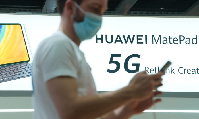 The Huawei stand promotes 5G products at the IFA 2020 Special Edition consumer electronics and appliances trade fair on the fair's opening day in Berlin, Germany, on Sept. 3, 2020. (Sean Gallup/Getty Images)